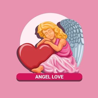 Engel liebe. glückliche valentinstagfeier mit kleinem engel umarmen herzsymbolkonzept in karikaturillustration