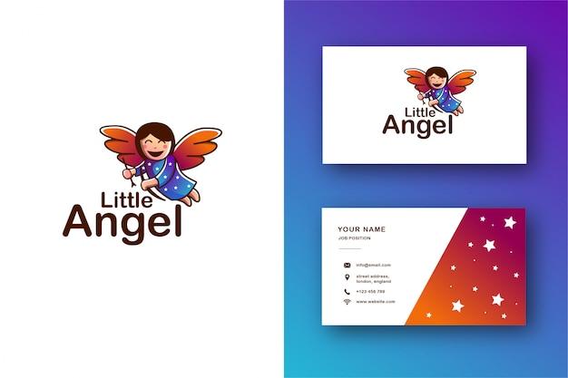 Engel maskottchen logo und visitenkarte