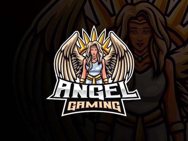 Engel maskottchen sport logo design