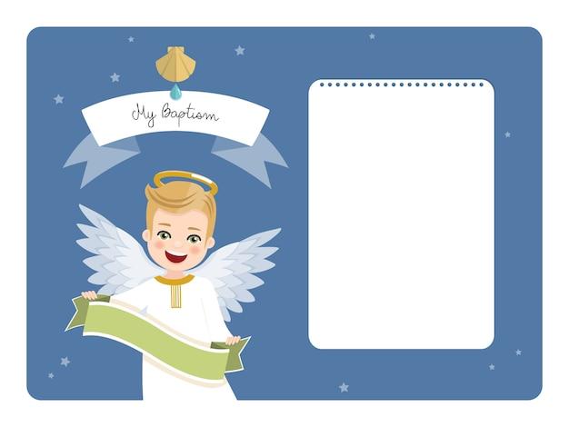 Engel mit band. horizontale einladung der taufe auf blauem himmel und sternen. flache vektorillustration