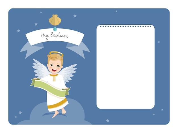 Engel mit band. horizontale einladung der taufe mit nachricht. flache vektorillustration