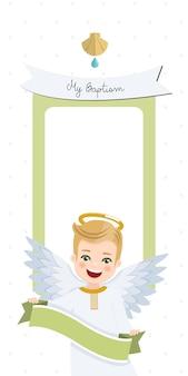 Engel mit band. vertikale einladung der taufe mit nachricht. flache vektorillustration