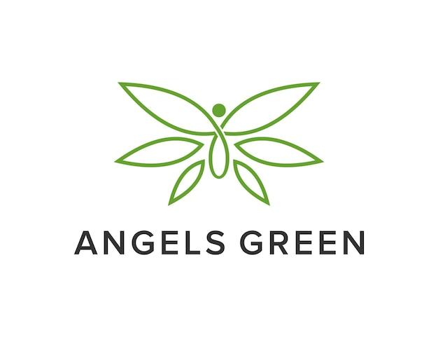 Engel mit blättern einfaches schlankes kreatives geometrisches modernes logo-design