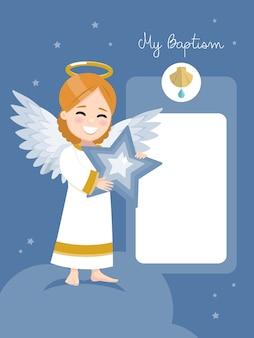 Engel mit einem blauen stern. taufeinladung mit nachricht auf einem dunklen himmel und sternenhintergrund. flache illustration