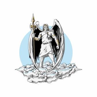 Engel mit speerillustration bewaffnet
