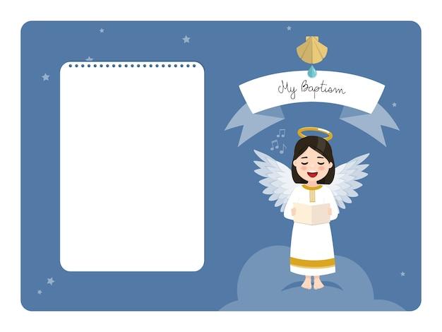 Engel singt. horizontale einladung der taufe mit nachricht. flache illustration