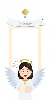 Engel singt. vertikale einladung der taufe mit nachricht. flache illustration