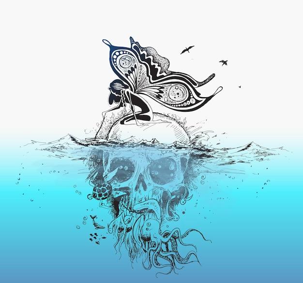 Engel sitzt auf unterwasser-schädel-plakat-design-vektor illustration