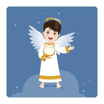 Engel spielt die harfe auf blauem himmel und sternenhintergrund. eben Premium Vektoren
