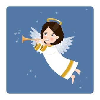 Engel spielt die trompete auf blauem himmel und sternen. flache vektorillustration