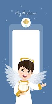 Engel spielt harfe. vertikale einladung der taufe auf einladung des blauen himmels und der sterne. eben