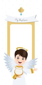 Engel spielt harfe. vertikale einladung der taufe mit nachricht. eben