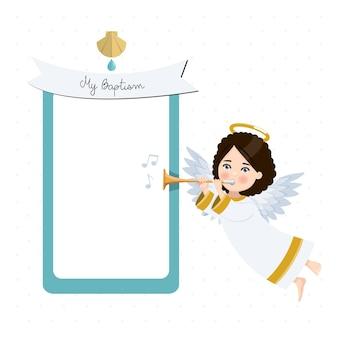 Engel spielt trompete. meine taufeinladung mit nachricht. flache vektorillustration