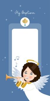 Engel spielt trompete. vertikale einladung meiner taufe auf einladung des blauen himmels und der sterne. flache vektorillustration