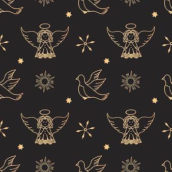 Engel, taube, nahtloses muster der schneeflocken. packpapier für weihnachts- und neujahrsgeschenke.