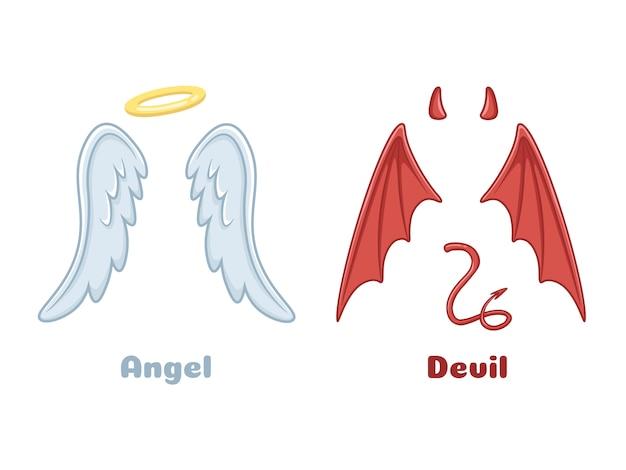 Engel und dämonenflügel.