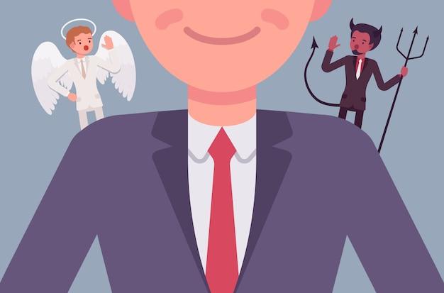 Engel und teufel auf den schultern des mannes
