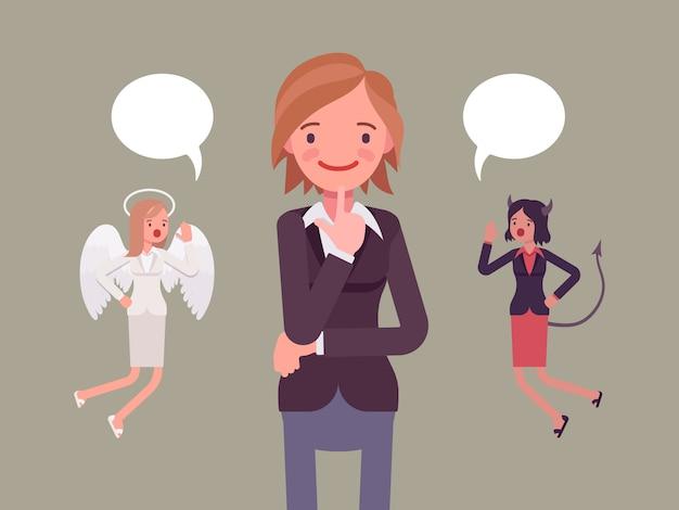 Engel und teufel schweben über einer denkenden frau