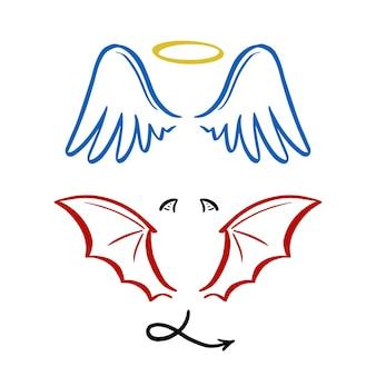 Engel und teufel stilisierte vektorillustration. engel mit flügel, heiligenschein. teufel mit flügel und schwanz. handgezeichnete linienskizze.