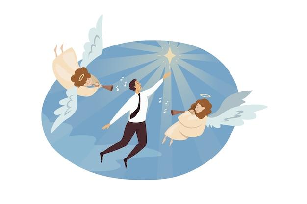Engelsbibelfiguren, die auf rohren spielen, die jungen geschäftsmann verherrlichen
