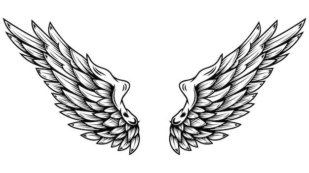 Engelsflügel im tattoo-stil isoliert auf weißem hintergrund. gestaltungselement für poster, scheiße, karte, emblem, schild, abzeichen.