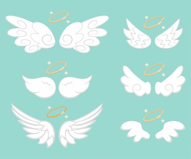 Engelsflügel mit goldenem nimbus-set