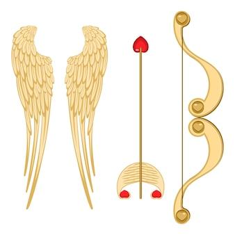 Engelsflügel, retro-amor-bogen und -pfeil mit realistischer vektorillustration des herzens von zubehör für den valentinstag einzeln auf weiß