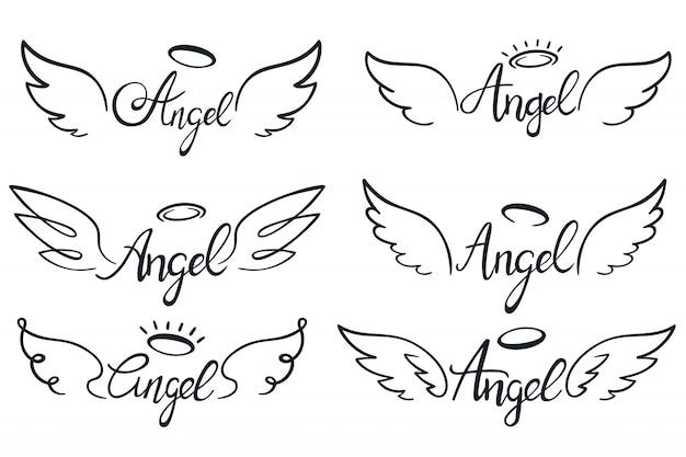 Engelsflügel schriftzug. himmelsflügel, himmlisch geflügelte engel und heilige flügel skizzieren vektorillustrationssatz