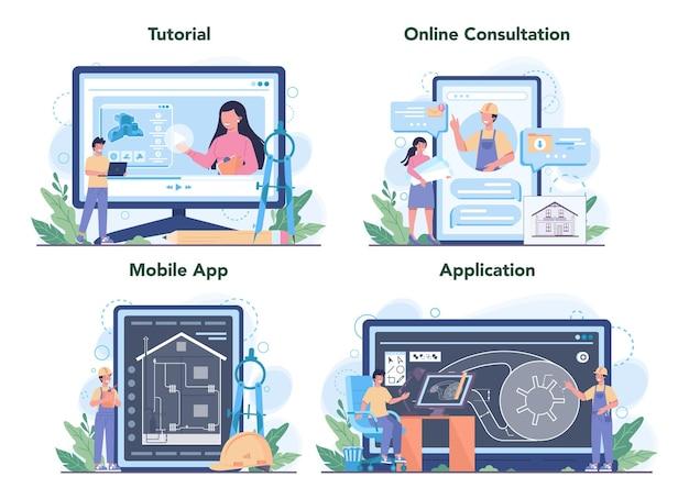 Engineering-onlinedienst oder plattformsatz. technologie und wissenschaft.