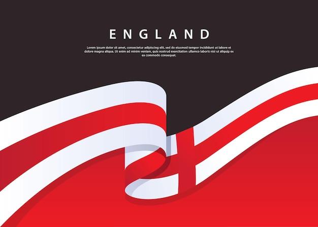 England-flagge fließt england-flagge auf schwarzem hintergrund vektorillustrationsschablone