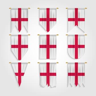 England flagge in verschiedenen formen