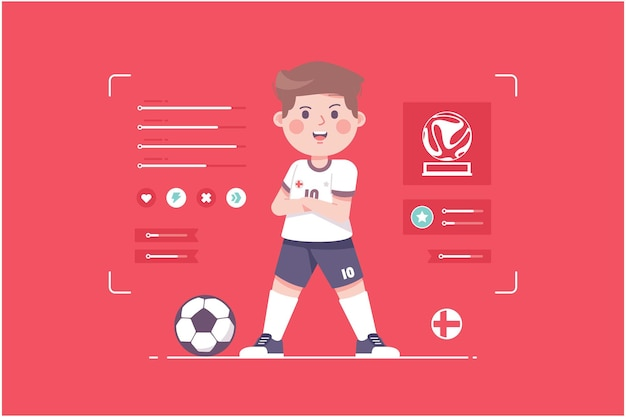 England fußballspieler süßes charakterdesign