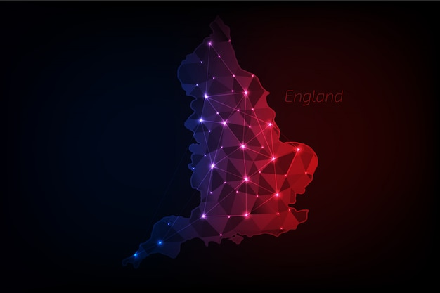 England karte polygonal mit leuchtenden lichtern und linie