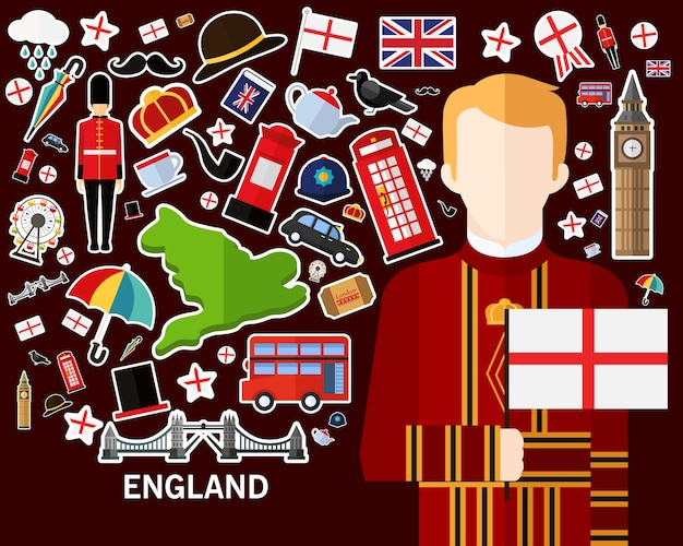 England-konzepthintergrund flache ikonen