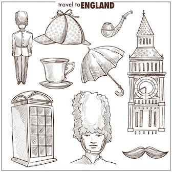 England reisen tourismus vektor skizzensymbole