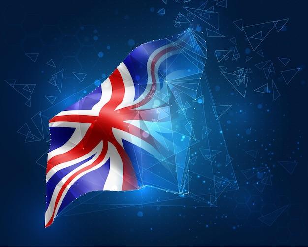 England, vektorflagge, virtuelles abstraktes 3d-objekt aus dreieckigen polygonen auf blauem hintergrund