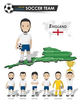 Englands fußballnationalmannschaft. fußballspieler mit sporttrikot stehen auf der landkarte des perspektivfeldes und der weltkarte. set von fußballspielerpositionen. flaches design der zeichentrickfigur. vektor.