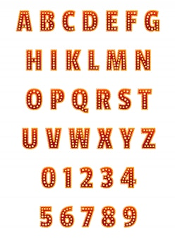 Englisch alphabet und ziffern eingestellt. für banner, plakate, prospekte und broschüren.