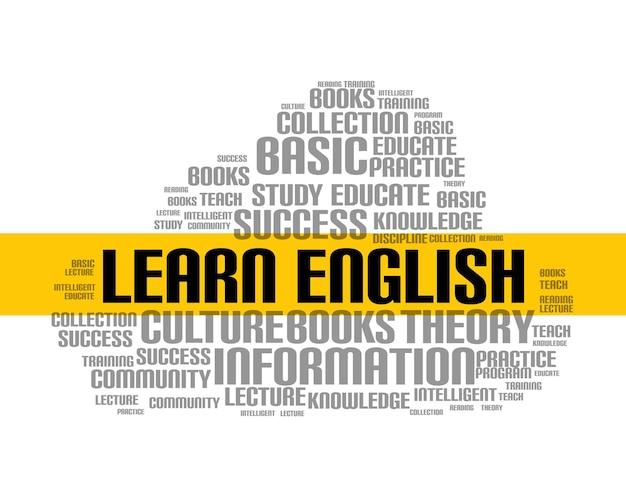 Englisch lernen wortwolkenkurs. bildung sprachschule online-unterricht fremdsprache.