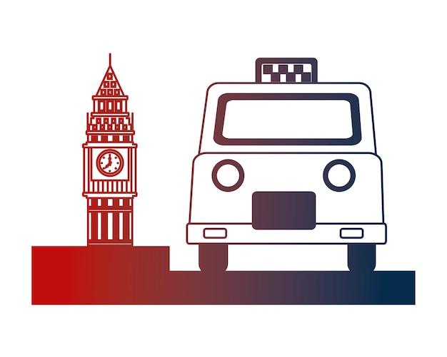 Englisch taxi service und big ben symbol vektor-illustration