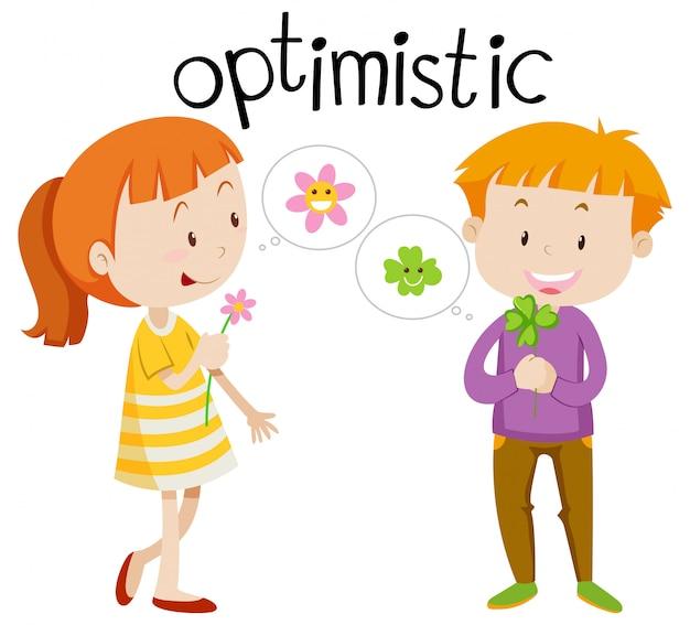 Englisch wortschatz wort optimistisch