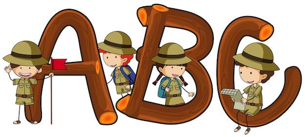Englische alphabete und kinder im safari-outfit