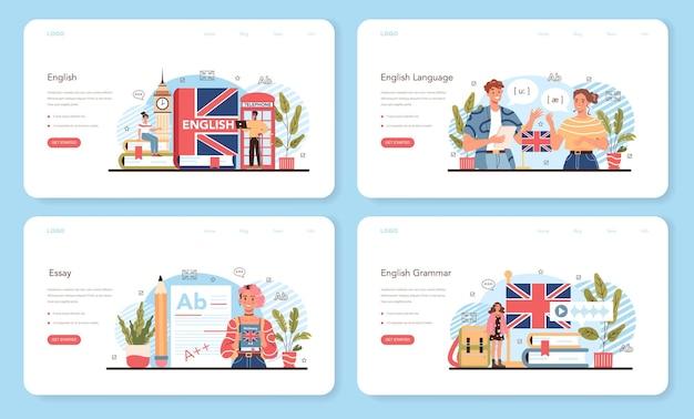 Englische klasse webbanner oder landing page set. fremdsprachen lernen