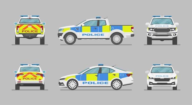 Englische polizeiautos von verschiedenen seiten