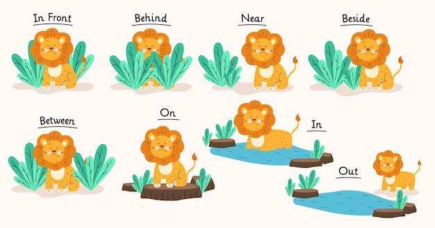 Englische präposition mit niedlichem löwen
