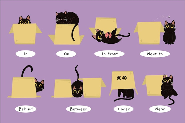 Englische präpositionen illustration