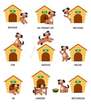 Englische präpositionen lernen mit süßem kleinen hundecharakter