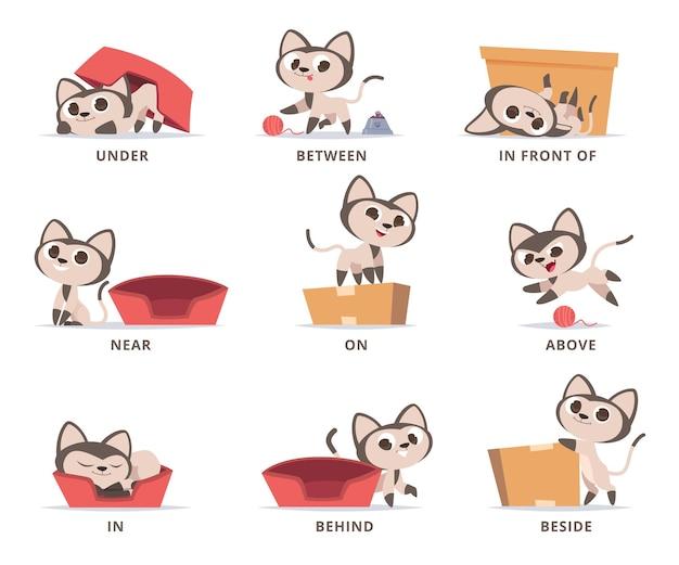 Englische präpositionen lernen. vorschulgrammatik süßes kätzchen, das mit kastenpräpositionen oben unter in der nähe von und auf vektorsatz spielt. illustration englische bildungssprache, präposition für position