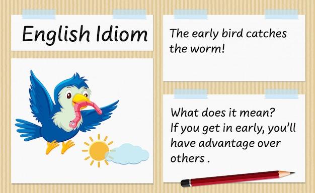 Englische sprache der frühe vogel fängt die wurmschablone