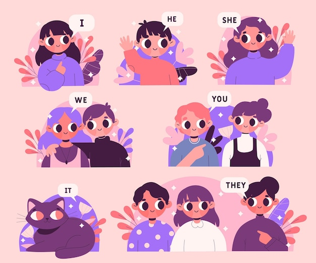 Englische subjektpronomen illustriert
